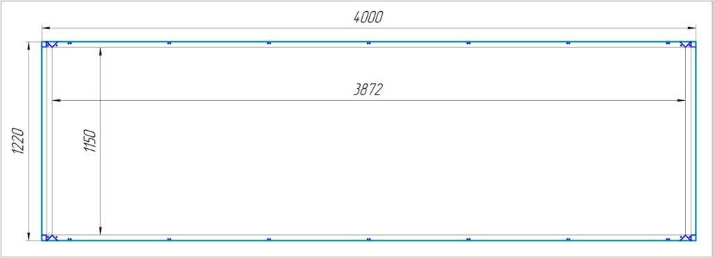 """Кассета из АКП 4000х1220х4/0,4мм, с креплением на """"икли"""", для сборки на заклёпки.Стоимость фрезеровки 415,00 р./лист (85,00 р./м.кв.)."""
