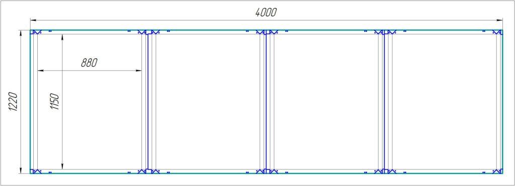 """Кассеты из АКП 4000х1220х4/0,4мм, с креплением на """"икли"""", для сборки на заклёпки. Стоимость фрезеровки 542,00 р./лист (111,00р./м.кв.)"""